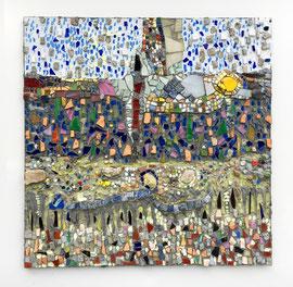 Tracce nella terra, mosaico in vetro e pietre naturali