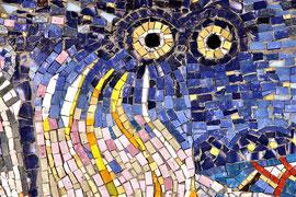 (particolare) La mungitura dorata, 2010, mosaico in vetro e pietre naturali, 230 x 240 cm (IBSA, Noranco - CH)