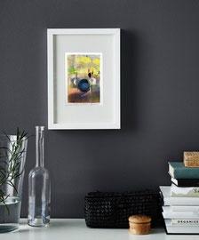 Tempo circolare, 2019, tecnica mista, 12 x 17 cm (cornice bianca 23 x 33 cm)