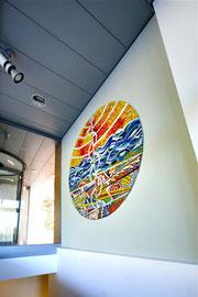Il simbolo e gli elementi, 2009, mosaico in vetro e pietre naturali, diametro 140 cm (IBSA, Noranco - CH)