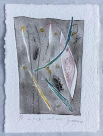 Magie nell'aria, 2015, incisione a olio, 18 x 25 cm. Esemplare unico