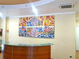 La molecola vivente, 2012, mosaico in vetri e marmi, 245 x 135 (Altergon Italia, Morra De Sanctis, Italia)
