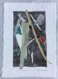 Lunghi echi, 2015, incisione a olio, 18 x 25 cm. Esemplare unico