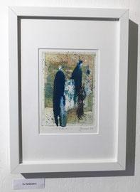 Viandanti, 2018, incisione a olio, 11 x 15 cm (cornice 23 x 33 cm). Esemplare unico