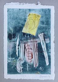 Sospeso, 2013, incisione a olio, 25 x 36 cm. Esemplare unico
