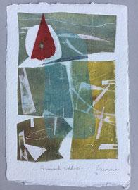 Frammenti suddivisi, 2013, incisione a olio, 25 x 36 cm. Esemplare unico