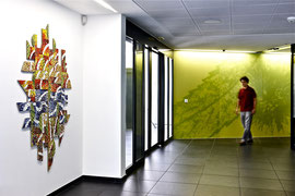 Le foglie nella vita, 2010, mosaico in vetro e pietre naturali, 135 x 180, (Raiffeisen, Gravesano - CH)