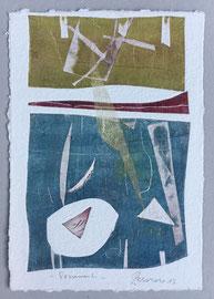 Frammenti, 2013, incisione a olio, 25 x 36 cm. Esemplare unico