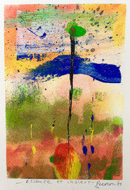 Essence et chaleur, 2019, tecnica mista, 12 x 17 cm (cornice bianca 23 x 33 cm)