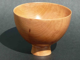 012 - Small, thin walled cup in plum, with tall foot. / Petit bol en prunier.   H8.5cm x Diam 11cm.  £45 - 55euros.