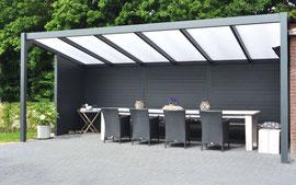 Pool house ou abri de jardin, la structure aluminium Vérasol distibuée et posée par Pergola des 2 Savoie. Demandez un devis.