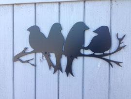 les oiseaux sur une branche  en tôle de 3mm noir mat, 40/20cm