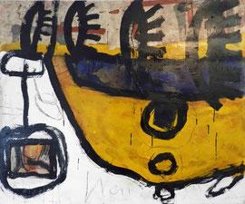 """""""Erinnerungen #1"""", 2015, Mischtechnik und Collage auf Papier auf Leinwand, 120x100 cm"""