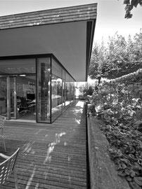 Holzbau Bikinibüro Widnau: Blick Richtung Eingang
