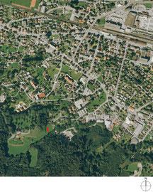 Waldtraut St. Margrethen: Situation Orthofoto (Quelle: Amt für Raumentwicklung und Geoinformation St. Gallen)