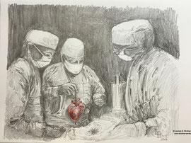 3. Dezember 1967 - 50 Jahre Herztransplantation - Graphit 27x21 cm