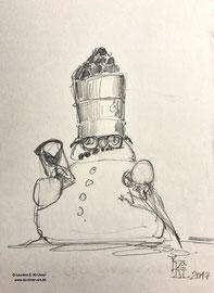Auch wenn's winterlich schneit, Kohle und Öl machen dem Schneemann immer mehr zu schaffen... Graphitzeichnung, 14 x 12