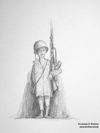 Internationaler Tag gegen den Einsatz von Kindersoldaten - Zeichnung, Graphit 30 x 42