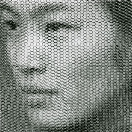Xiu, 2019, 80x80cm, dieci fogli di rete metallica intagliati a mano