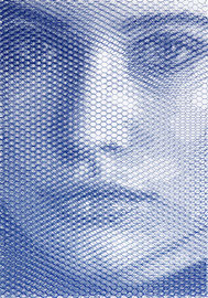 Adele, 2019, 100x70cm, dieci fogli di rete metallica intagliati a mano