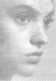 Sarah, 2019, 100x70cm, dieci fogli di rete metallica intagliati a mano