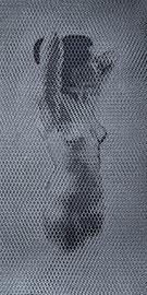 Anna, 2016, 140x70cm, dieci fogli di rete metallica intagliati a mano