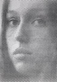 Rachel, 2019, 100x70cm, dieci fogli di rete metallica intagliati a mano