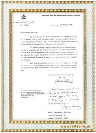 """Risposta della Santa Sede alla supplica dell'Arcivescovo di Siracusa """" 25 Marzo 1986 """""""