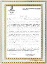 """lettera di Padre luigi affoni al S.Padre per il riconoscimento di S.Francesco Caracciolo """"Patrono dei Cuochi"""""""