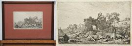 A-9 Landschaftsansicht mit Personenstaffage, Kupferradierung von Jean Louis Marne (auch Demarne), im Leinenpassepartout mit Goldschnitt, gerahmt in einem Schreiner-Biedermeierrahmen Mahagony; Bildmaß: 33x43 cm, Bildpreis: 195,-- EUR
