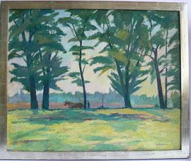 """M-13 """"Landschaft mit Pferdegespann""""- Ölgemälde von Änni Bötticher, signiert auf Malpappe, gerahmt in einem selbstgefertigtem 3 cm breiten Weißgold- rahmen 13,6 Karat. Gesamtgröße 55x66,5 cm Preis 740,00 EUR"""