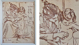 """M-5 """"Mutter mit Kind"""" - Radierung aus PAN von Charles Maurin (1856 Le Puy-en Velay, Auvergne – Grasse, Alpes-Maritimes 1914), in der Platte signiert; Plattenrand ca. 24,5 x 18 cm; Preis: 90,-- EUR"""
