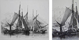 "B-28 ""OYSTER BOATS AT BILLINGSGATE"" - Kupferstich mit Radierung von Edward William Cooke; in der Platte bezeichnet: ""Drawn and Etched by E.W. Cooke. London Published 1828."" Plattenrand: 17 x 20,8 cm; Blattgröße: 23,5 x 31,5 cm; Preis: 75,- EUR"