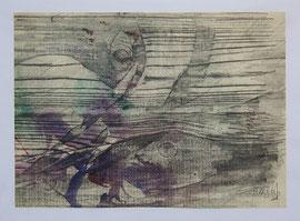 Z-13Frottage auf Papier mit Bleistift und farbigen Tuschen von Magda Hagstotz, zweifach signiert; Bildmaß: 22x28,5 cm, Preis: 48,-- EUR