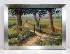 M-11 Landschaftsgemälde mit Frau des niederländischen Malers Hein S m i t (1902, Groningen – 1976, Groningen), signiert, bester konservatorischer Zustand; gerahmt in einem selbst gefertigten Weißgoldrahmen, Außengröße: 58 x 78,5 cm; Preis 690,-- EUR
