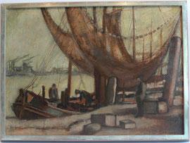 """Z-16 """"Hafenszene mit Personen""""- Ölgemälde auf Malgrund von Hans Rudolph (1911-1975), signiert und gerahmt in einem selbstgefertigten Blattsilberrahmen, 50,5x70,5 cm,Preis: 740,-- EURO"""