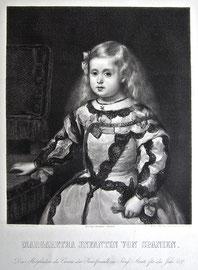 A-4  Margaretha Infantin von Spanien, Kupferstich mit Radierung von Hans Meyer nach einem Gemälde von Diego Velasquez; gedruckt von L. Angerer;. Bildformat: 32 x 27 cm, Plattenrand: 50 x 40 cm, Blattformat: 71,5 x 58 cm; Preis: 90,-- EUR