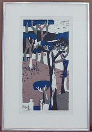 B-3 Landschaft mit Bäumen  Farblinolschnitt von Heidy S t a n g e n b e r g  M e r c k , Darstellung = 46,5 x 22,5 cm,signiert und 61 datiert, sowie 47 / 100 nummeriert; gerahmt in einem selbstgefertigten Weißgoldrahmen mit Museumsglas,  = 450,-- EUR