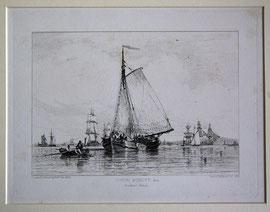 """B-25 """"Dutch Schuyt & c. Blackwell Reach."""" - Kupferstich mit Radierung von Edward William Cooke, in der Platte bezeichnet """"Drawn & Etched by E. W. Cooke 1829""""; Plattenrand: 15 x 20 cm, Blattgröße: 23,5 x 31,5 cm; Preis: 75,-- EUR"""