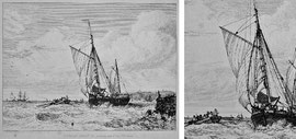 "B-30 ""COWES BOAT &c. coming out of the Harbour""- Kupferstich mit Radierung von Edward William Cooke; in der Platte bezeichnet: ""Drawn & Etched by Edward William Cooke""; Plattenrand: 12,5 x 16,2 cm; Blattgröße: 23,5 x 31,5 cm; Preis: 75,- EUR"