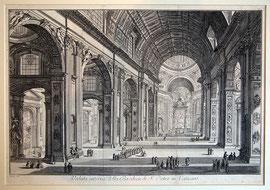 A-8  Veduta interna della Basilica di S. Pietro in Vaticano Kupferradierung von Giovanni Battista P i r a n e s i, signiert; Innenansicht des Petersdomes, gute Erhaltung; Plattengröße: 37 x 54 cm, Blattgröße: ca 41 x 57,5 cm; Preis 980,-- EUR