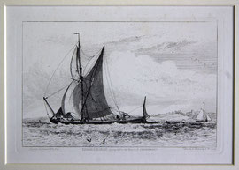 "B-29 ""Thames Barge (going before the Wind) off Northfleet."" - Kupferstich mit Radierung von Edward William Cooke, in der Platte bezeichnet ""London. Drawn & Etched by E. W. Cooke""; Plattenrand: 10,7 x 16,3 cm, Blattgröße: 23,5 x 31,5cm  Preis:"