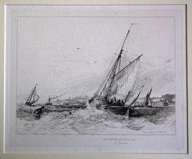 """B-24 """"Hatch-Boat (Double reef ´d) off Gravesend"""" - Kupferstich mit Radierung von Edward William Cooke, in der Platte bezeichnet """"Drawn & Etched by Ed. Wm. Cooke""""; Plattenrand: 16,6 x 20,9 cm, Blattgröße: 23,5 x 31,5 cm; Preis: 75,-- EUR"""
