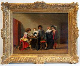 """A-3 """"Backgammon-Spieler"""" - Tafelbild des Malers Anthonie P a l a m e d e s z, Öl auf Holz, rechts unten signiert, exzellenter Zustand; Größe: 49,5 x 63,5 cm; die Bildtafel ist rückseitig alt parkettiert; gerahmt Preis 9500,- EUR"""