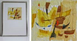 Z-34  Segelboote - abstrakt, Aquarell des Stuttgarter Malers und Willi Baumeister Schülers Richard Neuz (1896-1976), signiert; gerahmt in einem Weißgoldrahmen; Größe: 52x37 cm, Blattmaß: 19x20,5 cm; Bildpreis 560,-- EUR, Grafik o. R.: 270,-- EUR