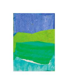 2004,  Collage (Acryl, Ölkreide, Papier und Baumwolle auf Holz), 59 x 42 cm