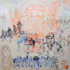 Delhi delight, 200x200cm mixed media on canvas, 2012