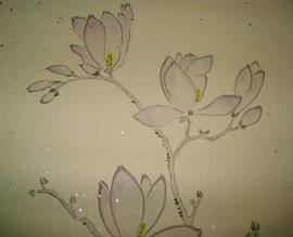 7- Magnolia sur carton pailleté - fragment - collection particulière