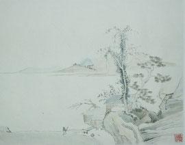 5 - Paysage sur papier chinois marouflé