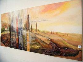 60x140cm, Collage Acryl auf Leinwand